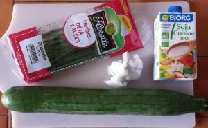 ingrédients concombre au soja